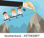hand of employer using a pencil ... | Shutterstock .eps vector #457582897
