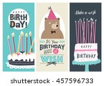 set of birthday greeting cards... | Shutterstock .eps vector #457596733