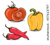 whole and half tomato  yellow... | Shutterstock .eps vector #457613797