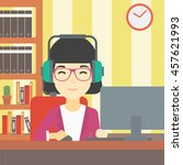 an asian woman playing computer ... | Shutterstock .eps vector #457621993