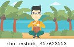 an asian man playing ethnic... | Shutterstock .eps vector #457623553