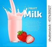 strawberry milkshake dessert... | Shutterstock .eps vector #457630027