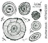 hand drawn vector wooden slice. ... | Shutterstock .eps vector #457642183