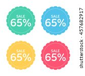 price badge icon. discount 65 ... | Shutterstock .eps vector #457682917