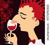 sommelier   a wine steward.... | Shutterstock . vector #457690303