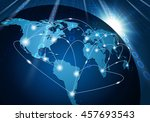 global network connection... | Shutterstock .eps vector #457693543