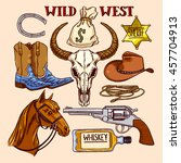 set of cute colorful cowboy... | Shutterstock .eps vector #457704913