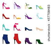 set of women shoes  vector... | Shutterstock .eps vector #457708483