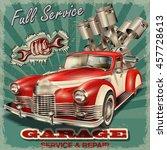 vintage garage retro poster | Shutterstock .eps vector #457728613