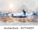 watercolor image of fisherman... | Shutterstock . vector #457744057