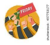 cheers  businessmen crowd at... | Shutterstock .eps vector #457753177