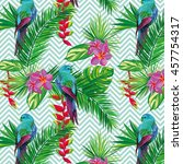 beautiful seamless tropical... | Shutterstock .eps vector #457754317