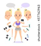 active fitness girl lifts... | Shutterstock .eps vector #457762963
