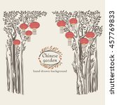 vintage floral background with...   Shutterstock .eps vector #457769833