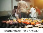 close up barbecue grills at... | Shutterstock . vector #457776937