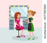 beautiful woman in beauty salon.... | Shutterstock .eps vector #457785583