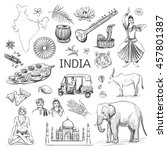 isolated sketches on the theme ... | Shutterstock .eps vector #457801387