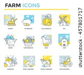 farm icons  thin line  flat... | Shutterstock .eps vector #457801717