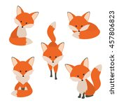 cute fox collection. vector... | Shutterstock .eps vector #457806823