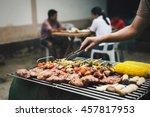 men hand cooking barbeque and...   Shutterstock . vector #457817953