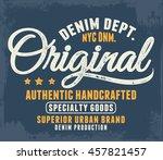 vintage denim label design  t... | Shutterstock .eps vector #457821457