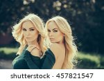 young sexy women with long lush ... | Shutterstock . vector #457821547