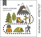 hiking and travel outdoor... | Shutterstock .eps vector #457827127