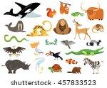 set of cute cartoon animals ...   Shutterstock .eps vector #457833523