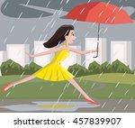 woman walking at summer rain | Shutterstock .eps vector #457839907