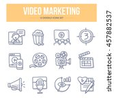 doodle line icons of video... | Shutterstock .eps vector #457882537
