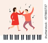dancing to the music of a man...   Shutterstock .eps vector #457883737