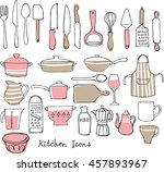 kitchen utensils doodle vector... | Shutterstock .eps vector #457893967