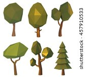 set of low poly trees. vector... | Shutterstock .eps vector #457910533