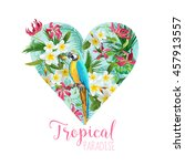 floral heart graphic design  ... | Shutterstock .eps vector #457913557