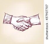 handshake hand drawn vector... | Shutterstock .eps vector #457937707