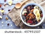 top view of a bowl of muesli... | Shutterstock . vector #457951537