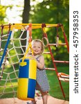 the little baby girl playing at ...   Shutterstock . vector #457958353