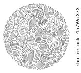 line art sketchy vector hand... | Shutterstock .eps vector #457965373