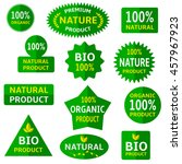 set of green labels and badges. ... | Shutterstock .eps vector #457967923