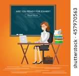 woman teacher tutor at the desk ... | Shutterstock .eps vector #457970563