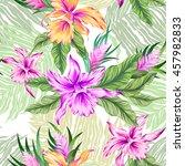 seamless vector tropical... | Shutterstock .eps vector #457982833