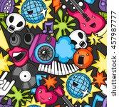 music party kawaii seamless... | Shutterstock .eps vector #457987777