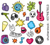 music party kawaii set. musical ... | Shutterstock .eps vector #457987813