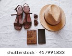 travel accessories  sandals ... | Shutterstock . vector #457991833