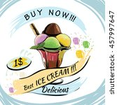 illustration of ice cream with ... | Shutterstock . vector #457997647