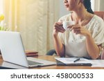 young businesswoman on a coffee ... | Shutterstock . vector #458000533