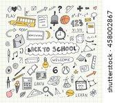 back to school. notebook doodle ... | Shutterstock .eps vector #458002867