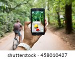 pokemon go ios and android... | Shutterstock . vector #458010427