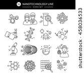 nanotechnology linear icons set ... | Shutterstock .eps vector #458036533