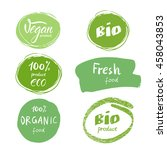 set of green logos  labels.... | Shutterstock .eps vector #458043853